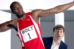 David Tennant and Usain Bolt Virgin Media